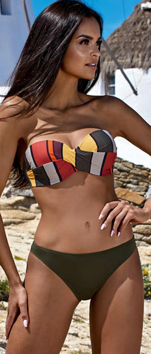 Trendy vyztužené bardot dvoudílné plavky Nina s brazilskými kalhotkami