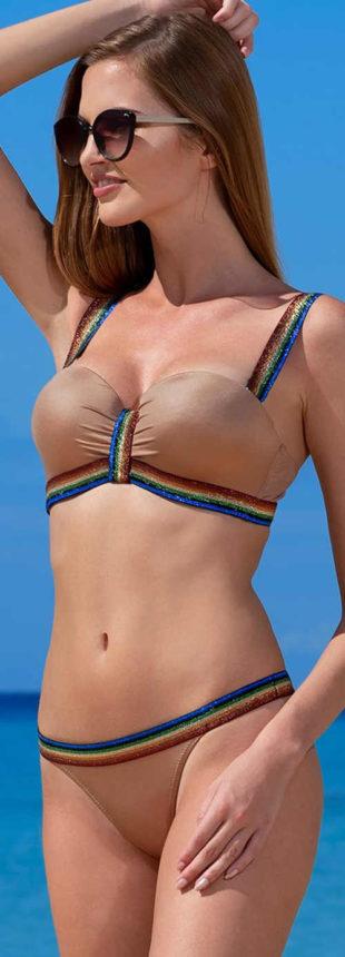 Vyztužené dvoudílné bardot plavky ideální pro menší poprsí