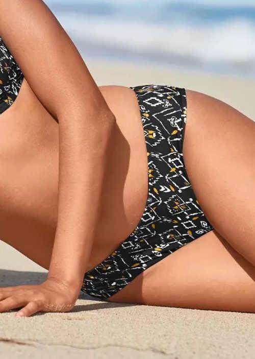 Vzorované plavkové midi kalhotky pro ploché bříško