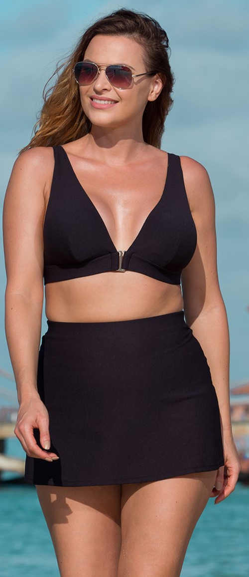 Černé dámské dvoudílné plavky s přední zapínáním podprsenky