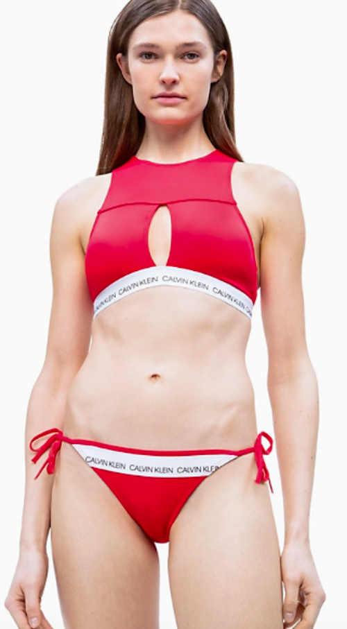 Červený spodní díl dámských bikin Calvin Klein
