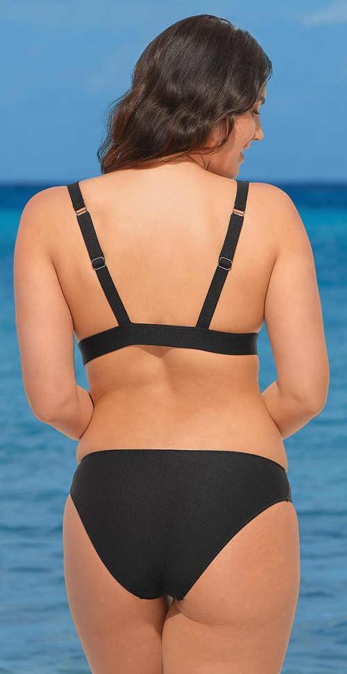 Jednobarevné černé dámské dvoudílné plavky