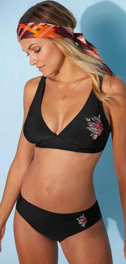Trojúhelníková glamour plavková podprsenka s výšivkou