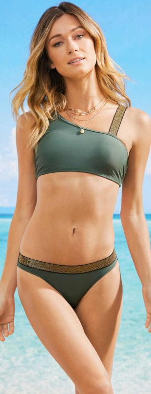 Bandážové dvoudílné dámské plavky s asymetrickým ramínkem