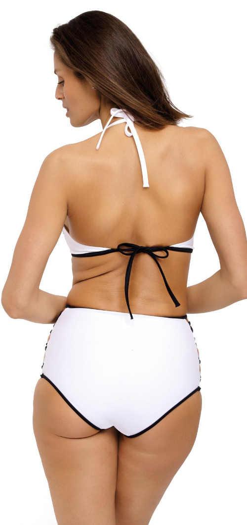 Bílé dámské dvoudílné plavky s vysokými kalhotkami