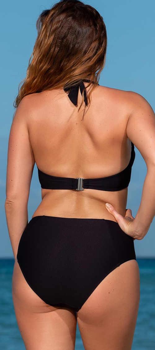 Černé dvoudílné plavky s vyšším střihem kalhotek