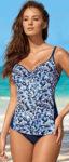 Modré dámské plavky tankiny s výrazným vzorem
