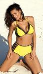 Žluté dámské dvoudílné plavky s vysokými kalhotkami a push-up podprsenkou