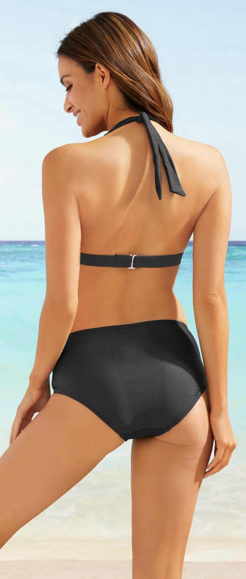 Dámské černé dvoudílné plavky s ramínky za krk