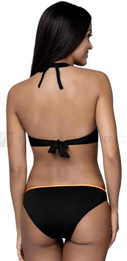 Černé dvoudílné plavky s ramínky podprsenky za krk