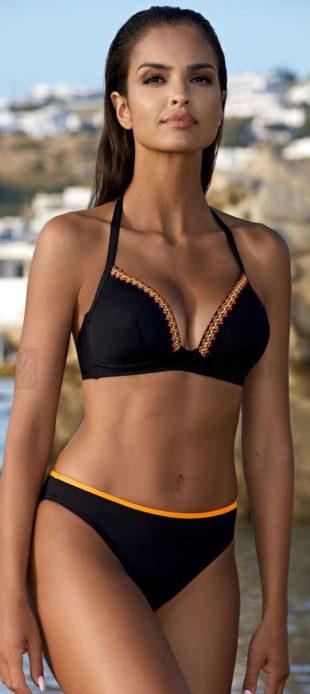 Černé trojúhelníkové dvojdílné push-up plavky Lorin Wendy