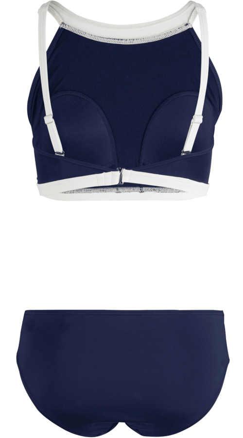 Modré dvoudílné plavky s integrovanými měkkými košíčky