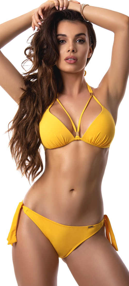 Zářivě žluté dámské push-up plavky Paloma