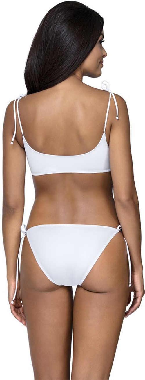 Bílé dámské dvoudílné plavky s ramínky zavazovánými na ramenou