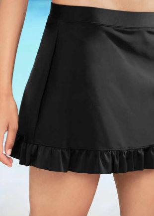 Černá plavková sukně s volánkovým spodním lemem