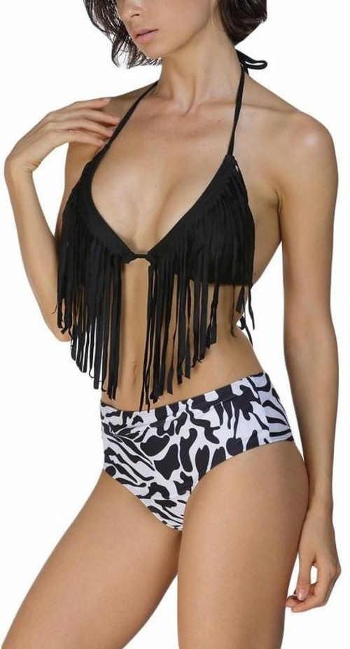 Černobílé dámské plavky s třásněmi