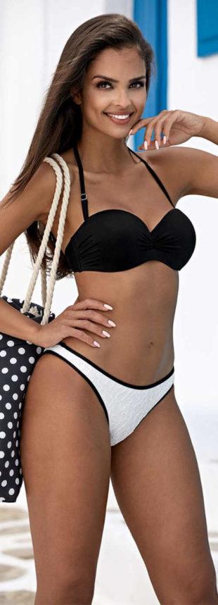 Dámské dvoudílné push-up plavky s černou podprsenku a bílými kalhotami