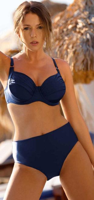 Jednobarevné modré dvoudílné plavky pro starší vyššími kalhotkami