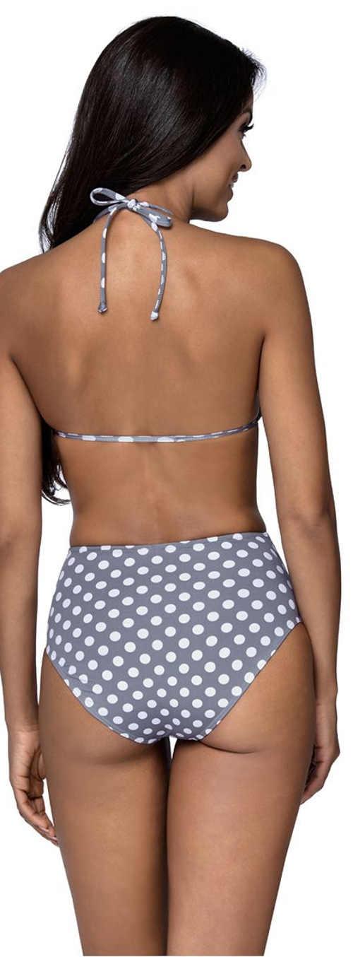 Šedo-bílé dámské dvoudílné plavky s puntíky