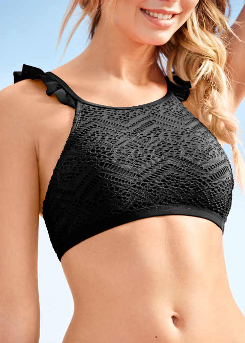 Černé dámské dvoudílné plavky děrované krajky