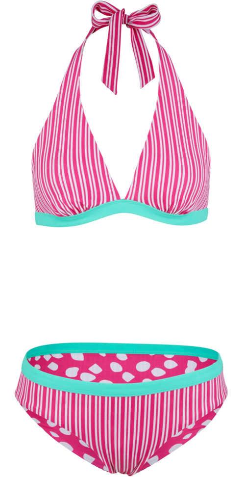 Růžové oboustranné dámské plavky Bonprix