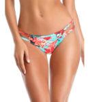 Květované dámské plavkové kalhotky s proužky na bocích