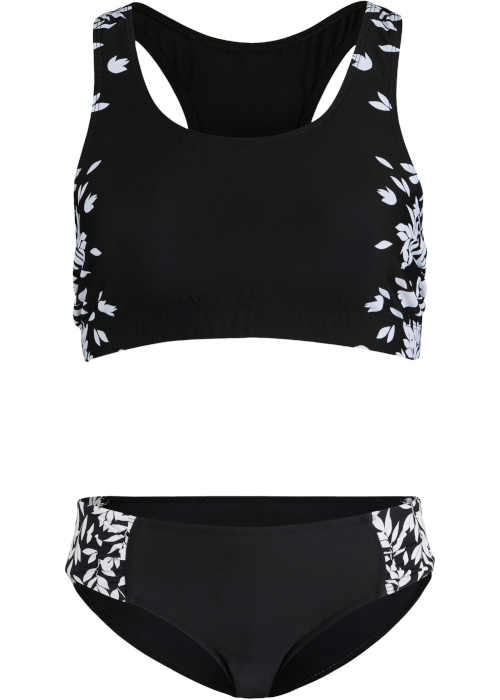 Zmenšovací dvoudílné plavky v černo-bílé kombinaci