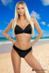 Dvoudílné dámské černé plavky s efektivním řasením