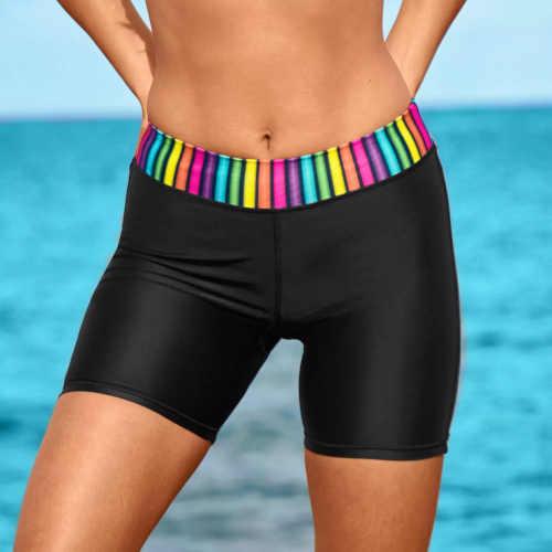 Plavkové šortky s vyšším elastickým barevným pasem