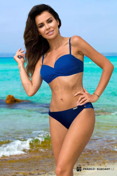 Dvoudílné dámské modré plavky s efektivním překřížením