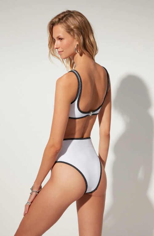 dámské černo-bílé stylové plavky